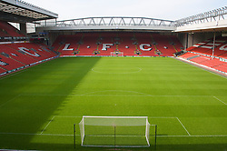 The view of the Anfield pitch from the Anfield Road Upper Stand, centre of Block 225.