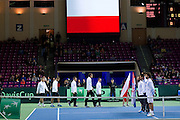 (L-R) Marcin Matkowski &amp; Mariusz Fyrstenberg &amp; Michal Przysiezny &amp; Jerzy Janowicz &amp; Radoslaw Szymanik - captain national team all from Poland during the BNP Paribas Davis Cup 2014 between Poland and Croatia at Torwar Hall in Warsaw on April 5, 2014.<br /> <br /> Poland, Warsaw, April 5, 2014<br /> <br /> Picture also available in RAW (NEF) or TIFF format on special request.<br /> <br /> For editorial use only. Any commercial or promotional use requires permission.<br /> <br /> Mandatory credit:<br /> Photo by &copy; Adam Nurkiewicz / Mediasport