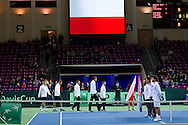 (L-R) Marcin Matkowski & Mariusz Fyrstenberg & Michal Przysiezny & Jerzy Janowicz & Radoslaw Szymanik - captain national team all from Poland during the BNP Paribas Davis Cup 2014 between Poland and Croatia at Torwar Hall in Warsaw on April 5, 2014.<br /> <br /> Poland, Warsaw, April 5, 2014<br /> <br /> Picture also available in RAW (NEF) or TIFF format on special request.<br /> <br /> For editorial use only. Any commercial or promotional use requires permission.<br /> <br /> Mandatory credit:<br /> Photo by © Adam Nurkiewicz / Mediasport