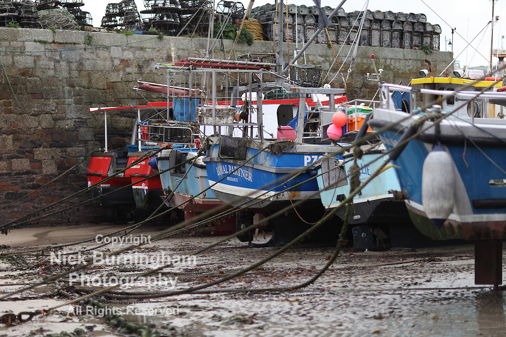NEWQUAY, CORNWALL, UK - NOVEMBER 17, 2016: Views of Newquay Harbour at low tide in Autumn.