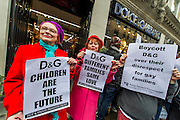 "The Out and Proud Diamond Group and the Peter Tatchell Foundation support the international boycott of Dolce and Gabbana and lead a protest outside their flagship London store, 6-8 Old Bond Street, London 19 March 2015. The protest is in response to the fashion designers 'insulting slurs' against same-sex parents and their children. Speaking to the Italian magazine Panorama, alongside his business partner, Stefano Gabbana, Domenico Dolce said children should be born to a mother and a father: ""The only family is a traditional one. I'm not convinced by those I call the chemical children, synthetic babies...They are wombs for hire, semen chosen from a catalogue ... psychiatrists are not ready to confront the effects of this experimentation."" Stefano Gabbana added: ""The family is not a fad."" In 2006, he told the Daily Mail: ""I am opposed to the idea of a child growing up with two gay parents."""