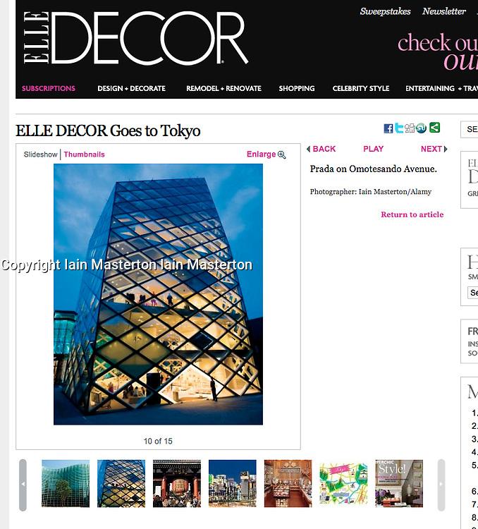 Elle Decor Magazine tearsheet, Prada Tokyo