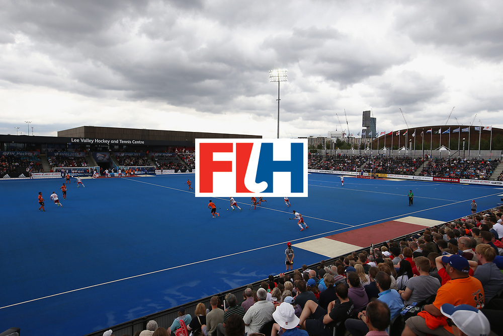 LONDON, ENGLAND - JUNE 25:  A general view inside the stadium during the 3rd/4th place match between Malaysia and England on day nine of the Hero Hockey World League Semi-Final at Lee Valley Hockey and Tennis Centre on June 25, 2017 in London, England.  (Photo by Steve Bardens/Getty Images)