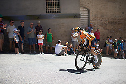 Karol-Ann Canuel (CAN) of Boels-Dolmans Cycling Team rides near the top of the final climb of Stage 5 of the Giro Rosa - a 12.7 km individual time trial, starting and finishing in Sant'Elpido A Mare on July 4, 2017, in Fermo, Italy. (Photo by Balint Hamvas/Velofocus.com)