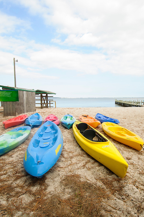 Kayaks lined up on the beach.