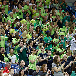 April 7, 2013; New Orleans, LA, USA; Notre Dame Fighting Irish fans cheer against the Connecticut Huskies during the first half in the semifinals during the 2013 NCAA womens Final Four at the New Orleans Arena. Mandatory Credit: Derick E. Hingle-USA TODAY Sports