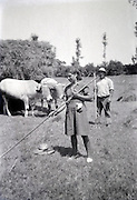 farmers couple working in the field countryside France 1950s