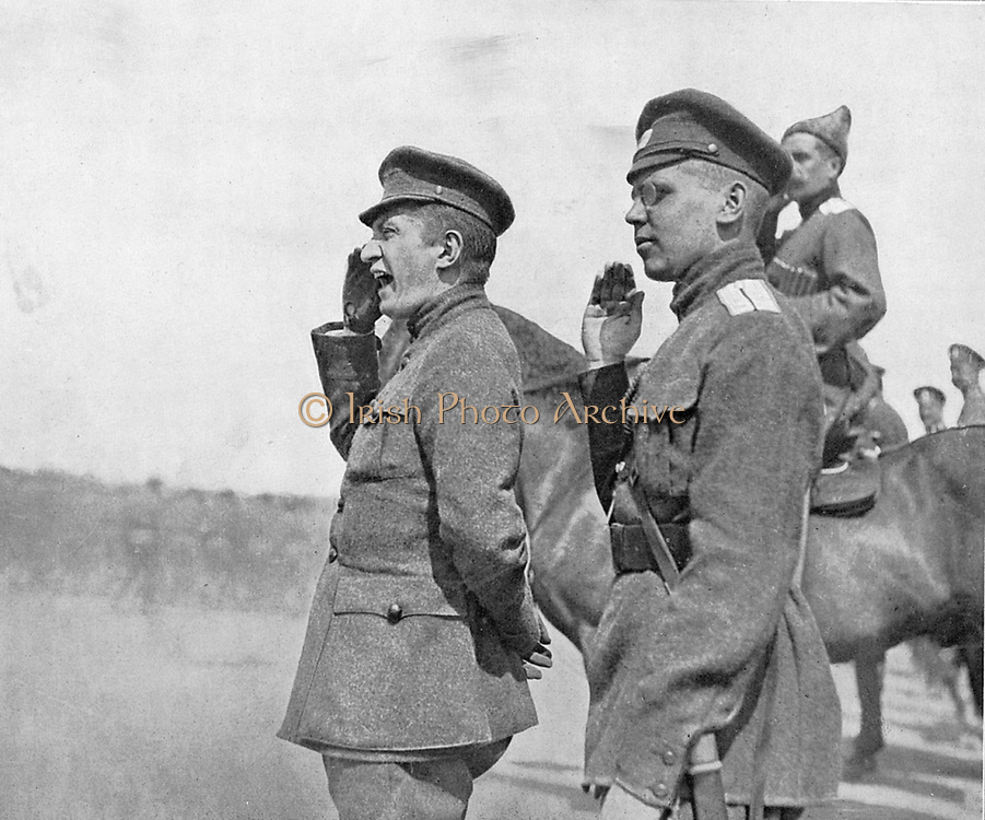 Alexander Feodorovich Kerensky (1881-1970) Russian revolutionary leader, here as minister for war in 1917, reviewing the troops.