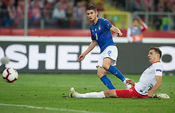 October 14, 2018 - Chorzow, Poland - Jorginho (ITA), Jan Bednarek (POL)  in action during the UEFA Nations League A group three match between Poland and Italy at Silesian Stadium on October 14, 2018 in Chorzow, Poland.  (Photo by Foto Olimpik/NurPhoto) (Credit Image: © Foto Olimpik/NurPhoto via ZUMA Press)