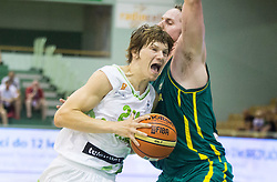 Jaka Klobucar of Slovenia vs Cameron Bairstow of Australia during friendly basketball match between National teams of Slovenia and Australia, on August 3, 2015 in Arena Tri lilije, Lasko, Slovenia. Photo by Vid Ponikvar / Sportida