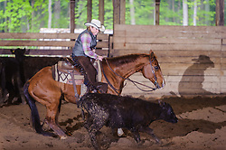 May 21, 2017 - Minshall Farm Cutting 4, held at Minshall Farms, Hillsburgh Ontario. The event was put on by the Ontario Cutting Horse Association. Riding in the 35,000 Non-Pro Class is Rosalee Munch on Xrey owned by the rider.