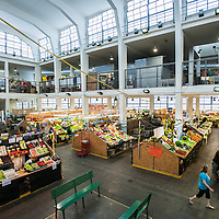 General view of the Mercado Coperto (indoor market) in Trieste, Italy.