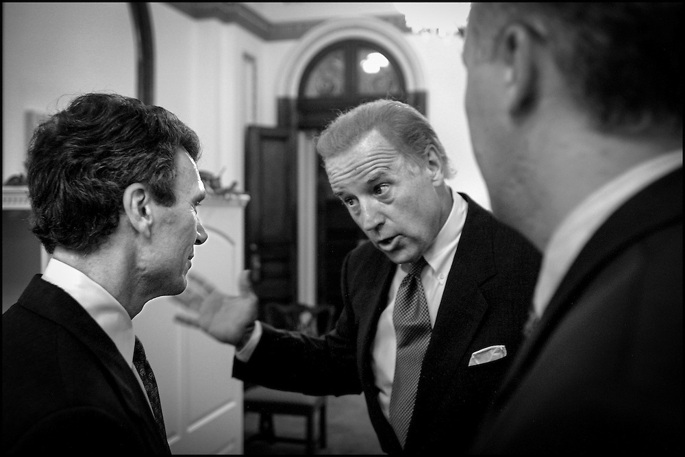 Sen. Joe Biden talks to Senate Majority Leader Tom Daschle about the events of the past few days. 9/13/01..©PF BENTLEY/PFPIX.com
