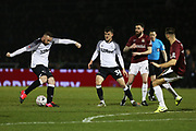 Wayne Rooney shoots at goal during the The FA Cup match between Northampton Town and Derby County at the PTS Academy Stadium, Northampton, England on 24 January 2020.