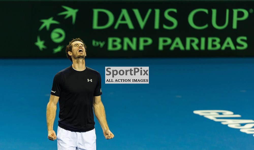 Andy Murray celebrates during the Davis Cup Semi-final between Great Britian and Australia (c) ROSS EAGLESHAM | Sportpix.co.uk