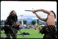 Reenactors perform battle scenes inspired by Braveheart at the Stirling Highland Games. Scotland