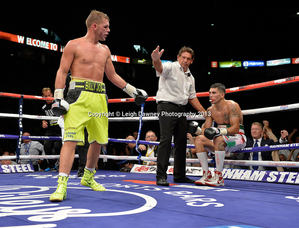 Billy Joe Saunders defeats Emanuele Blandamura for the European Middleweight Title on 26th July 2014 at the Phones 4U Arena, Manchester. Promoted by Frank Warren. © Credit: Leigh Dawney Photography.