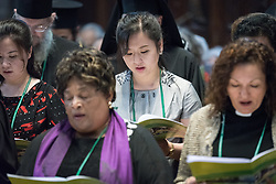 17 June 2018, Geneva, Switzerland: Representatives of churches worldwide gathered at Geneva's St Pierre Cathedral for a service of celebration to mark the 70th anniversary of the World Council of Churches on 17 June, at which His All-Holiness Ecumenical Patriarch Bartholomew urged continued efforts for unity, justice and peace. Here, participants from North Korea.