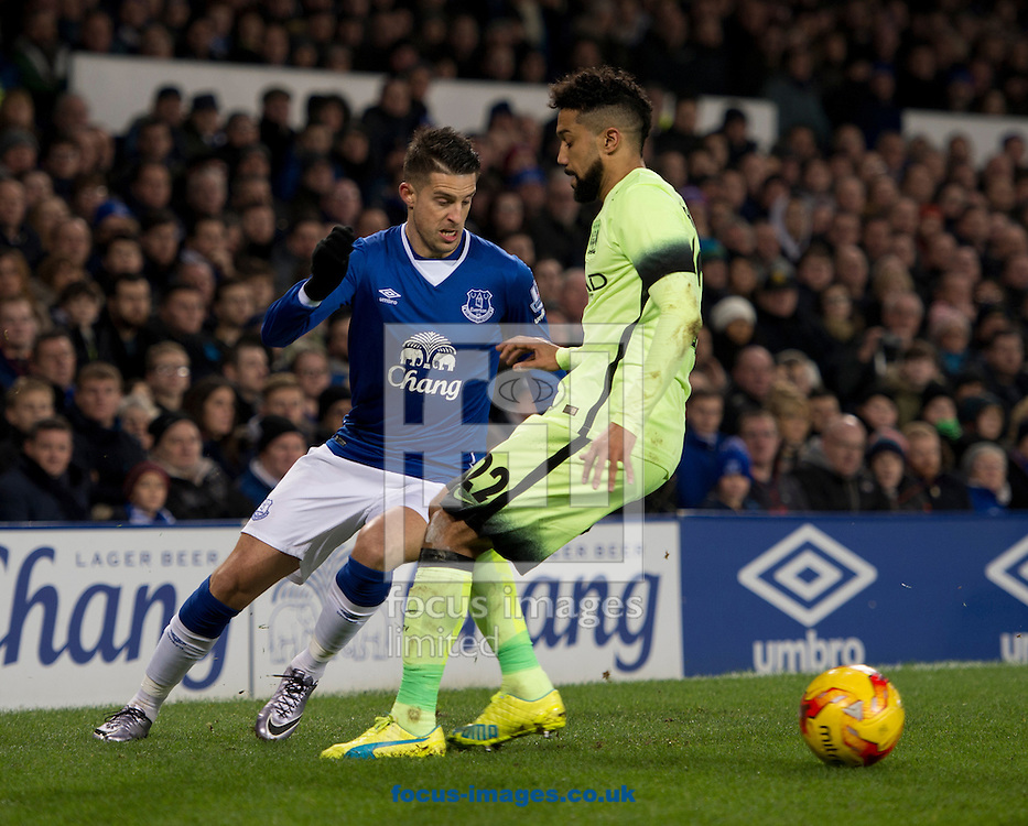 Kevin Mirallas of Everton (left) turns inside Gael Clichy of Manchester City during the Capital One Cup semi-final match at Goodison Park, Liverpool<br /> Picture by Russell Hart/Focus Images Ltd 07791 688 420<br /> 06/01/2016