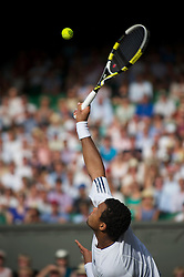 LONDON, ENGLAND - Wednesday, June 30, 2010: Jo-Wilfried Tsonga (FRA) during the Gentlemen's Singles Quarter-Final on day nine of the Wimbledon Lawn Tennis Championships at the All England Lawn Tennis and Croquet Club. (Pic by David Rawcliffe/Propaganda)