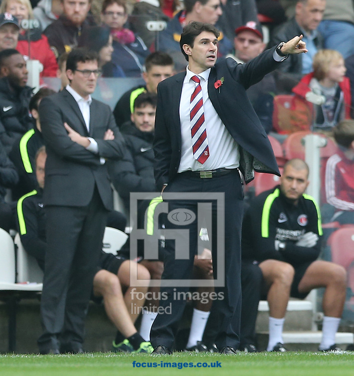 Middlesbrough head coach Aitor Karanka (foreground) and Charlton Athletic interim head coach Karel Fraeye (background) during the Sky Bet Championship match at the Riverside Stadium, Middlesbrough<br /> Picture by Simon Moore/Focus Images Ltd 07807 671782<br /> 31/10/2015