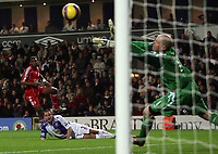 Photo: Paul Thomas/Sportsbeat Images.<br /> Blackburn Rovers v Liverpool. The FA Barclays Premiership. 03/11/2007.<br /> <br /> Liverpool's Ryan Babel (Red) has this shot saves by Blackburn keeper Brad Friedel (Green), watched by Blackburn defender Andre Ooijer (Ground).