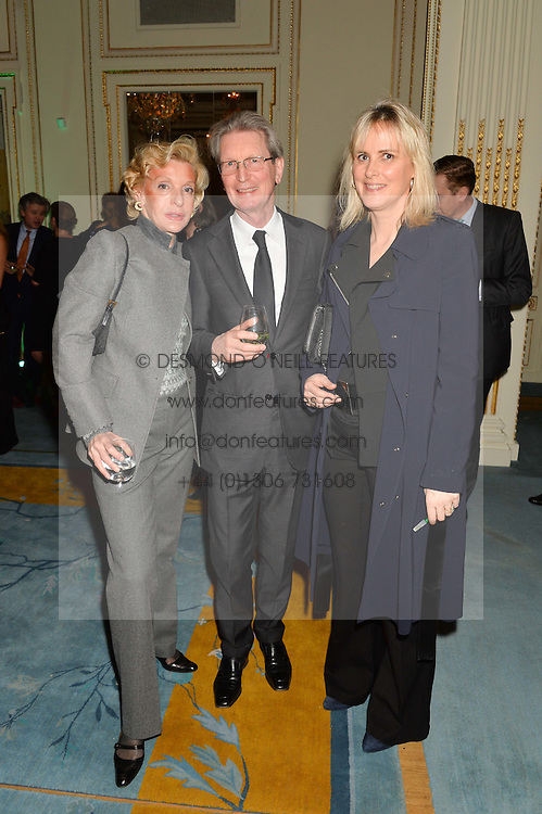 Left to right, WENDY, COUNTESS OF CALEDON, DAVID MONTGOMERY and his wife SOPHIE MONTGOMERY at a party to celebrate the publication of The Romanovs 1613-1918 by Simon Sebag-Montefiore held at The Mandarin Oriental, 66 Knightsbridge, London on 2nd February 2016.