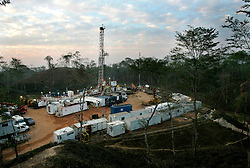 BANGLADESH SRIMANGOL 22FEB05 - Unocal-owned drilling site and Rig two operated by Century Resources in the tea hills near Srimangal, north Bangladesh...jre/Photo by Jiri Rezac ..© Jiri Rezac 2005..Contact: +44 (0) 7050 110 417.Mobile:  +44 (0) 7801 337 683.Office:  +44 (0) 20 8968 9635..Email:   jiri@jirirezac.com.Web:    www.jirirezac.com..© All images Jiri Rezac 2005- All rights reserved.