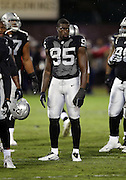 Oakland Raiders defensive end Benson Mayowa (95) looks on during the NFL week 12 regular season football game against the Kansas City Chiefs on Thursday, Nov. 20, 2014 in Oakland, Calif. The Raiders won their first game of the season 24-20. ©Paul Anthony Spinelli