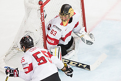 Leonardo Genoni of Switzerland during the 2017 IIHF Men's World Championship group B Ice hockey match between National Teams of Canada and Switzerland, on May 13, 2017 in AccorHotels Arena in Paris, France. Photo by Vid Ponikvar / Sportida