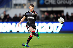 Tom Whiteley of Saracens kicks for the posts - Mandatory byline: Patrick Khachfe/JMP - 07966 386802 - 05/02/2017 - RUGBY UNION - Allianz Park - London, England - Saracens v Leicester Tigers - Anglo-Welsh Cup.