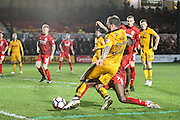 Sean Rigg of Newport County and Cecil Nyoni of Alfreton Town during the The FA Cup match between Newport County and Alfreton Town at Rodney Parade, Newport, Wales on 15 November 2016. Photo by Andrew Lewis.
