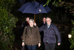 © Licensed to London News Pictures. 21/01/2018. Sonning, UK. British prime minister THERESA MAY attends a morning church service with her husband PHILIP MAY in light snowfall, near her constituency home. Photo credit: Ben Cawthra/LNP