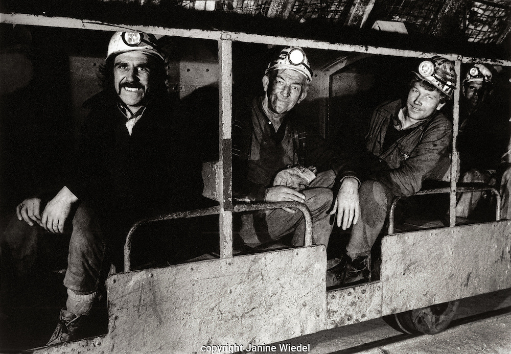 Underground trains transporting Miners down into the mine shaft Florence Colliery Stoke on Trent  Staffordshire. 1970's