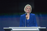 Callista Gingrich introduces her husband Newt Gingrich during the third day of the Republican National Convention July 20, 2016 in Cleveland, Ohio.
