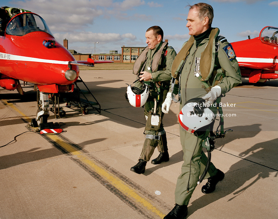 Former Chief of the Air Staff Sir Jock Stirrup (R) pays visit to Red Arrows with team leader Sqn. Ldr. Spike Jepson. ..Air Chief Marshal Sir Graham Eric (Jock) Stirrup