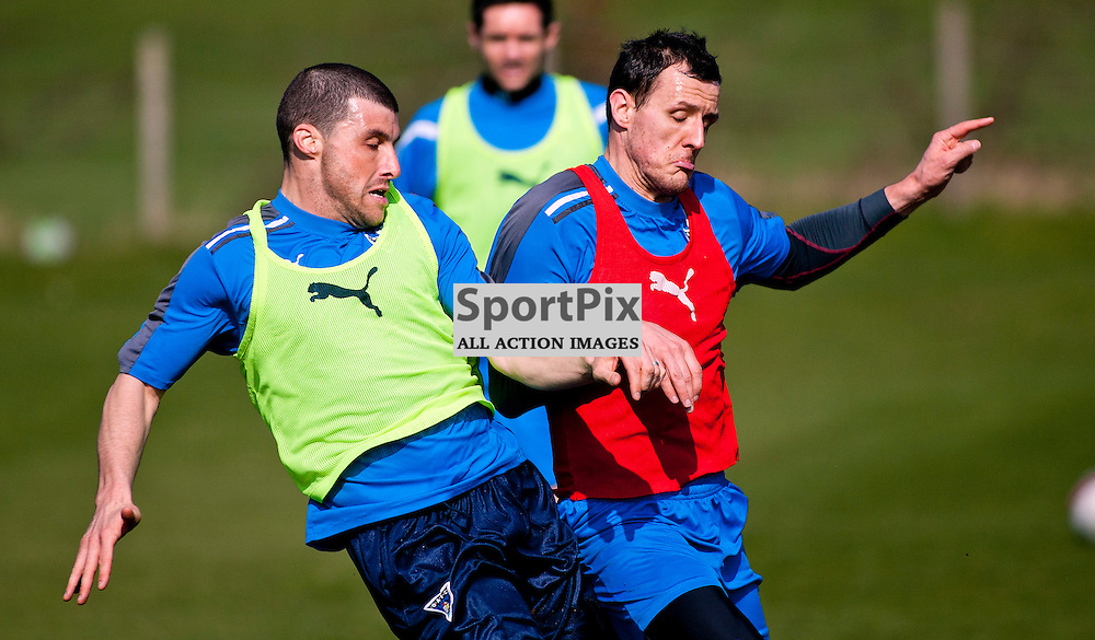 The Clydesdale Bank Scottish Premier League, Season 2011/12.Dunfermline Athletic Football Club - Training session..22-03-12...Austin McCann tangles with Alex Keddie in this mornings Dunfermline Athletic training session. ..At Pitreavie- Dunfermline Academy of sport, Dunfermline...Picture, Craig Brown ..Thursday 22nd March 2012.