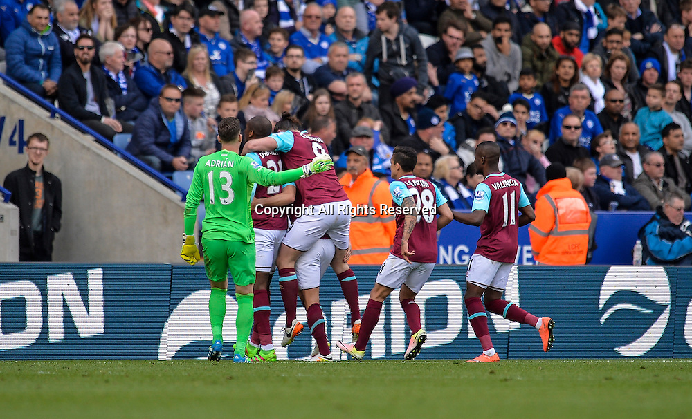 17.04.2016. King Power Stadium, Leicester, England. Barclays Premier League. Leicester City versus West Ham. West Ham United players celebrate Aaron Cresswell scoring to take their side 2-1 up.