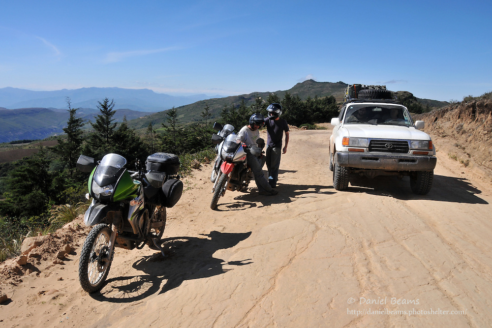 Stopping on a motorcycle adventure near Postrervalle, Santa Cruz, Bolivia