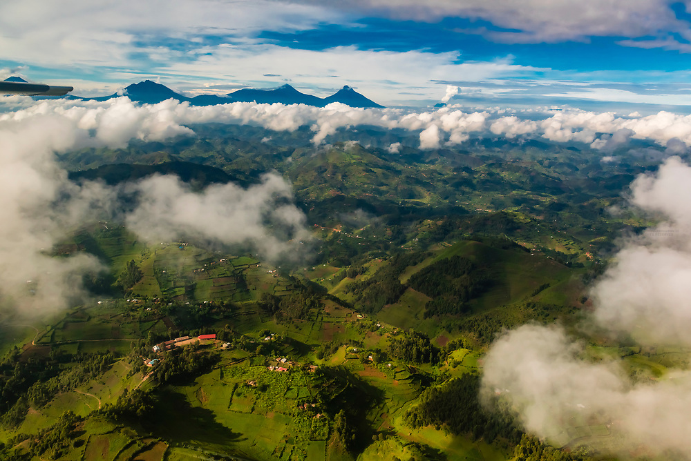 The Virunga Mountains are a chain of volcanoes in East Africa, along the northern border of Rwanda, the Democratic Republic of the Congo and Uganda. The mountain range is a branch of the Albertine Rift Mountains, which border the western branch of the East African Rift. They are located between Lake Edward and Lake Kivu.