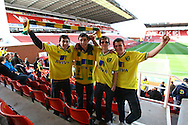 Picture by Paul Chesterton/Focus Images Ltd.  07904 640267.03/03/12.Travelling Norwich fans before the Barclays Premier League match at the Britannia Stadium, Stoke-on-Trent.
