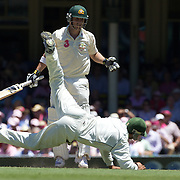 Phillip Hughes hits the ball just out of reach of close in fielder Salman Butt during the Australia V Pakistan 2nd Cricket Test match at the Sydney Cricket Ground, Sydney, Australia, 5 January 2010. Photo Tim Clayton