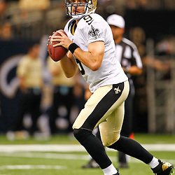 August 17, 2012; New Orleans, LA, USA; New Orleans Saints quarterback Drew Brees (9) during the first quarter of a preseason game against the Jacksonville Jaguars at the Mercedes-Benz Superdome. Mandatory Credit: Derick E. Hingle-US PRESSWIRE
