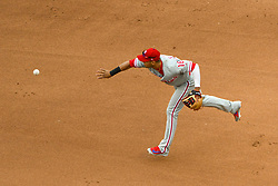 May 6, 2018 - Washington, DC, U.S. - WASHINGTON, DC - MAY 06:  Philadelphia Phillies second baseman Cesar Hernandez (16) starts a double play during the game between the Philadelphia Phillies and the Washington Nationals on May 6, 2018, at Nationals Park, in Washington D.C.  The Washington Nationals defeated the Philadelphia Phillies, 5-4.  (Photo by Mark Goldman/Icon Sportswire) (Credit Image: © Mark Goldman/Icon SMI via ZUMA Press)