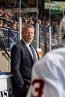 KELOWNA, BC - OCTOBER 12: Kamloops Blazers head coach Shaun Clouston stands on the bench against the Kelowna Rockets at Prospera Place on October 12, 2019 in Kelowna, Canada. (Photo by Marissa Baecker/Shoot the Breeze)