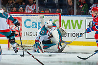 KELOWNA, CANADA - MARCH 3:  James Porter #1 of the Kelowna Rockets defends the net against the Spokane Chiefs on March 3, 2018 at Prospera Place in Kelowna, British Columbia, Canada.  (Photo by Marissa Baecker/Shoot the Breeze)  *** Local Caption ***