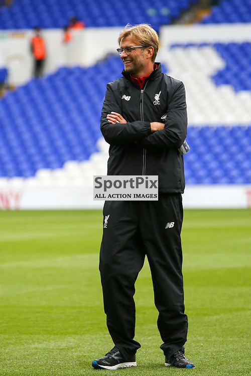 Jurgen Klopp inspects the pitch prior to Tottenham Hotspur vs Liverpool on Saturday 17th of October 2015.