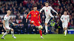 CARDIFF, WALES - Tuesday, November 19, 2019: Wales' Kieffer Moore during the final UEFA Euro 2020 Qualifying Group E match between Wales and Hungary at the Cardiff City Stadium. (Pic by Laura Malkin/Propaganda)