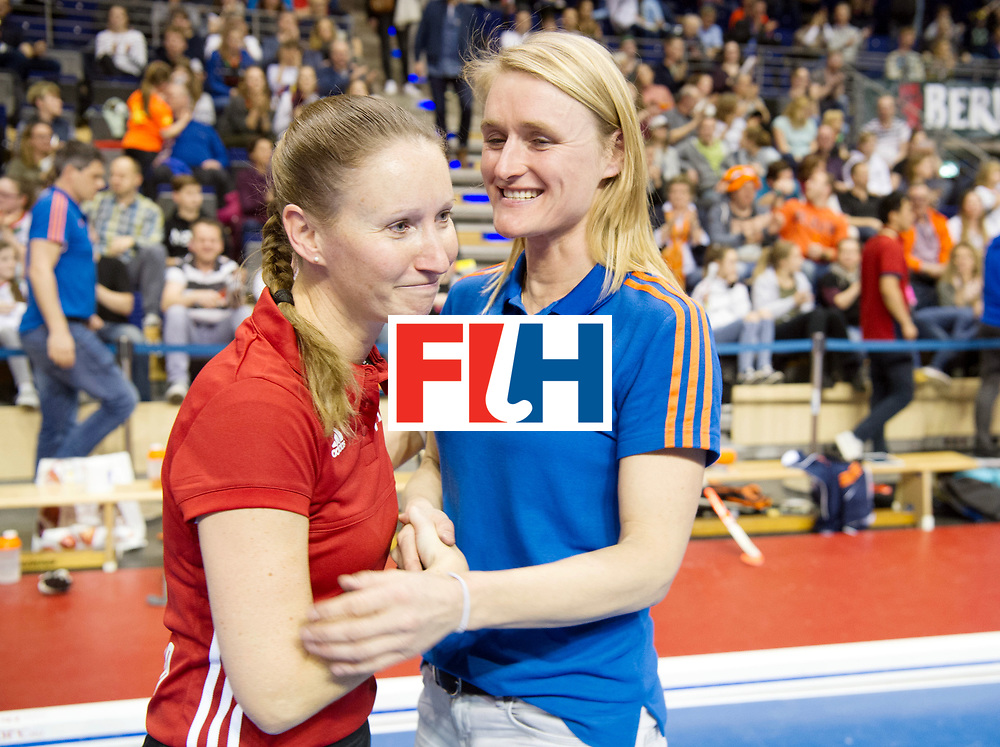 BERLIN - Indoor Hockey World Cup<br /> SF1 Netherlands - Ukraine<br /> foto: Umpire Michelle Meister and Marieke Dijkstra<br /> WORLDSPORTPICS COPYRIGHT FRANK UIJLENBROEK