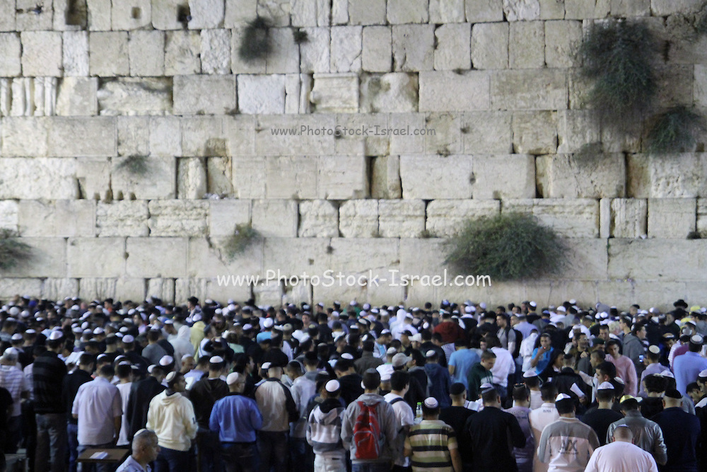 Israel, Jerusalem, Wailing Wall, Jews during Selichot prayers. Selichot (Selihot‎) are Jewish penitential poems and prayers, especially those said in the period leading up to the High Holidays,